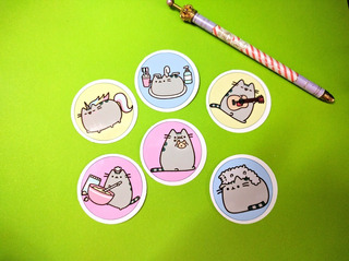 Set De 6 Stickers Circulares De Pusheen Kawaii Gato