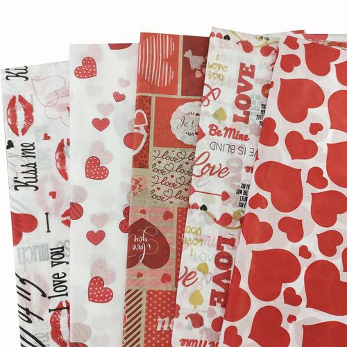 Imagem 1 de 1 de Papel De Seda Estampado Love Amor Sortido Pacote 50 Folhas