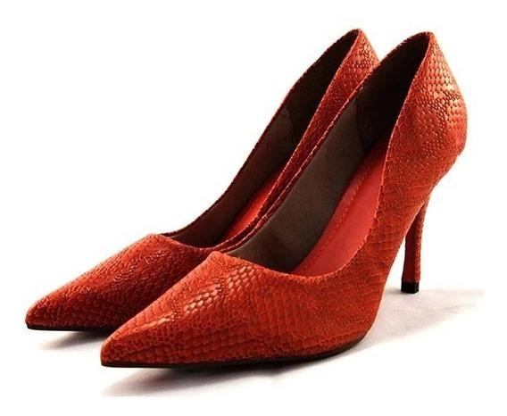 Scarpin Myshoes Laranja Texturizado Escamas