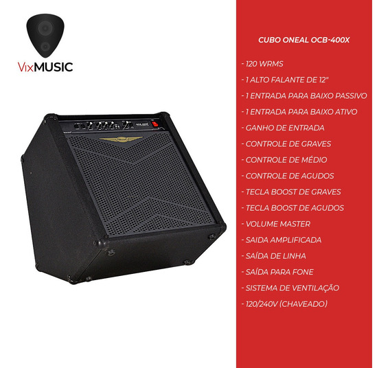 Cubo Amplificador Contra Baixo Oneal Ocb400 Ocb 400 12 120w