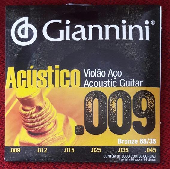 Encordoamento Giannini Violão Aço Acústico .009/.045 Bronze