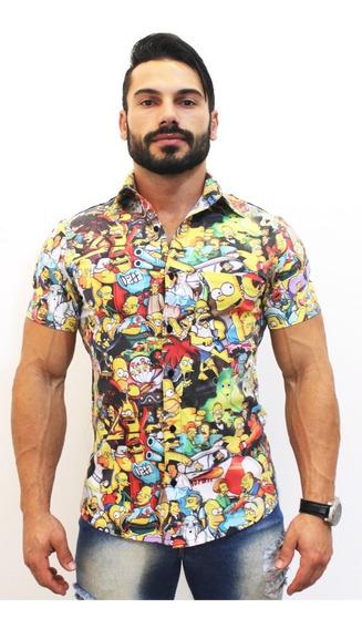 Camisa Floral Simpsons Masculina Social Luxo Lançamento