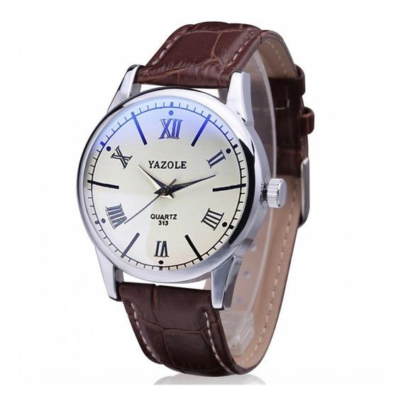 Reloj Acero Cuarzo Marca Yazole Modelo 313 Blanco/café