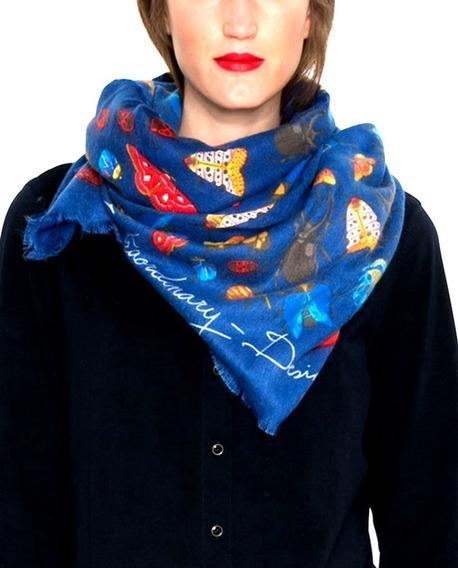Pañuelo Azul Desigual Afranelado 120 X 120 Cms Precioso!!!