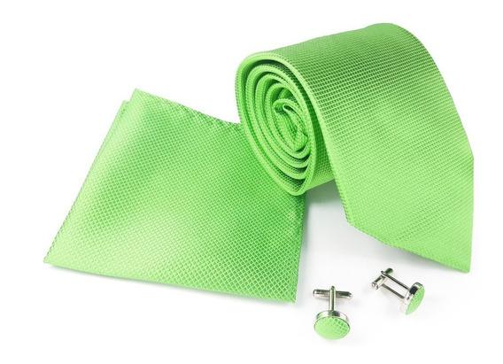 Set De Corbata, Pañuelo Y Mancuernillas Verde Grey Style