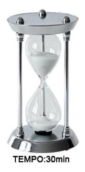 Ampulheta Metal Espelhado E Vidro - Areia Branca 30 Minutos