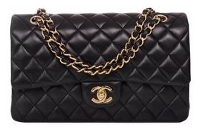 Bolsa Chanel 2.55 (média) Couro Lambskin Preta Com Caixa