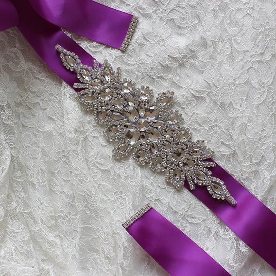Delicado Cinto Strass Cristais Cetim Noiva Casamento