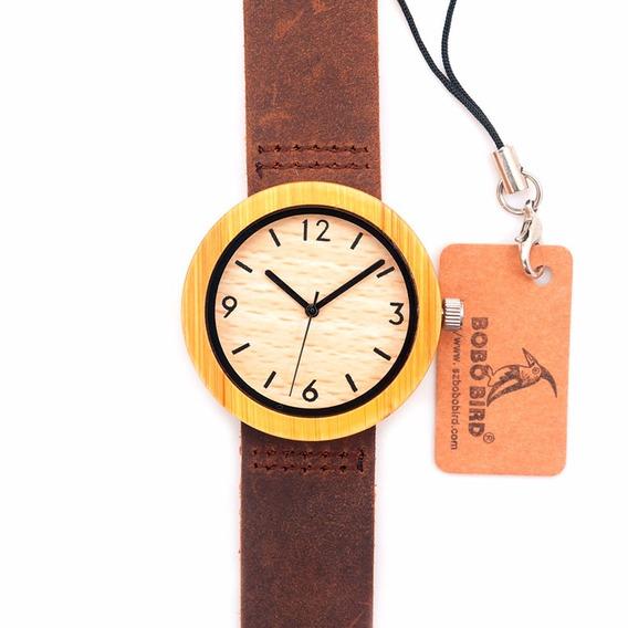 Relógio Feminino De Bambu - Bobo Bird C-d18-2