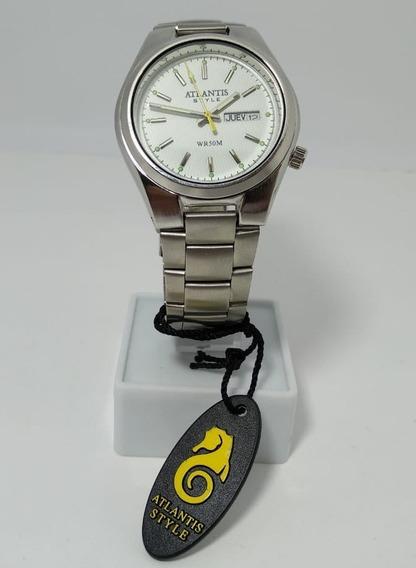 Relógio Atlantis Style Prata Fundo Branco - 6929g