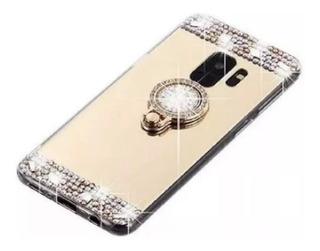 Funda Para Samsung / Xiaomi Anillo De Cristal Strass Brillo Espejada