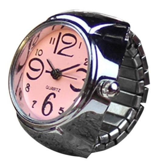 Relógio Feminino De Dedo Anel Mostrador Quartz Rosa