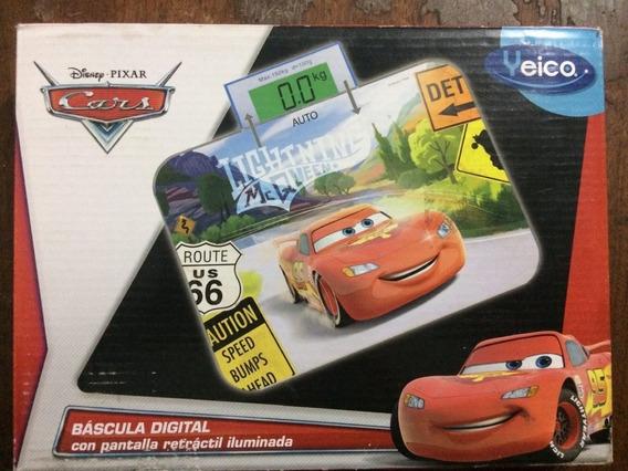 Bascula Digital Disney Cars Pantalla Retractil Con Luz New