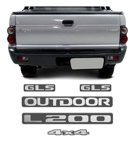 Imagem 1 de 6 de Kit Emblema Adesivo Resinado Mitsubishi L200 Outdoor Gls 4x4