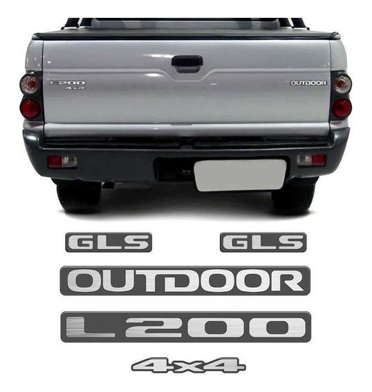 Kit Emblema Adesivo Resinado Mitsubishi L200 Outdoor Gls 4x4