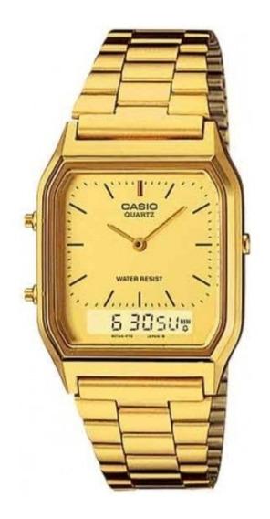 Relógio Cassio Dourado Q230 Feminino Masculino Digital Vintage Retro Gold + Caixa