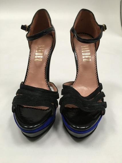 Zapatos De Cuero Valdez Taco 13cm Talle 38 Negros