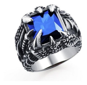 Anel De Aço Garra De Dragão Com Pedra Azul Zircônia Vintage