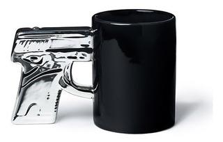 Taza Cerámica Con Diseño Pistola Cromada Bigmouth Inc