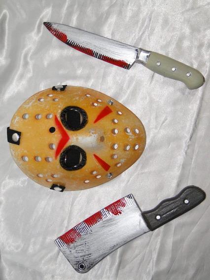 Kit Do Jason = Mascara + Machado 45cm + Faca Sangue 35cm