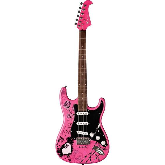 Guitarra Rosa Rock Usada Uma Vez Apenas