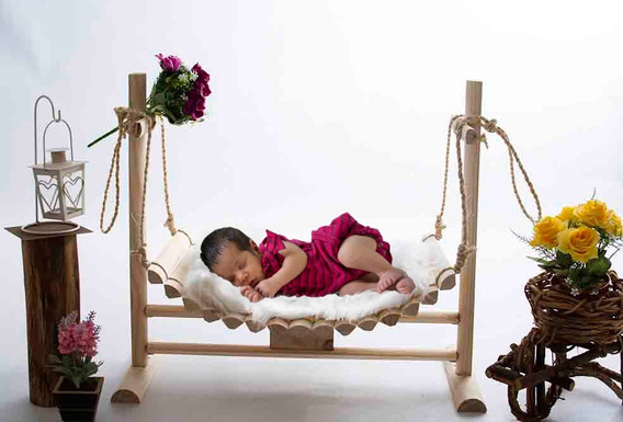 Kit Newborn Balanço Caminha Rústica Props Para Fotografia
