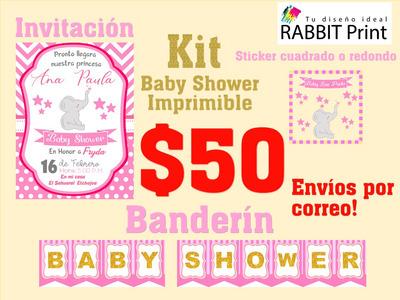 Kit Imprimible Invitaciones Etiquetas Y Banderin Para Fiesta