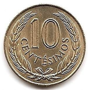 Moneda Uruguay De Bronce De 10 Centimos Año 1960