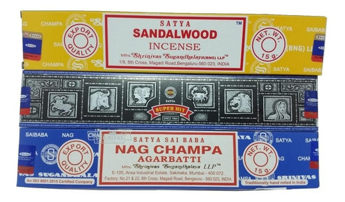 Incenso Satya Nagchampa + Super Hit + Sandalwood -3un+brinde