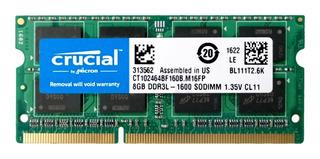 Memoria 8gb Crucial Para Laptop Ddr3l-1600 Pc3-12800 1.35v