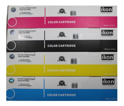 Imagen 1 de 5 de Kit 4 Toner Para Ricoh Mpc 3003/3503/3004/3504 Color Ikon