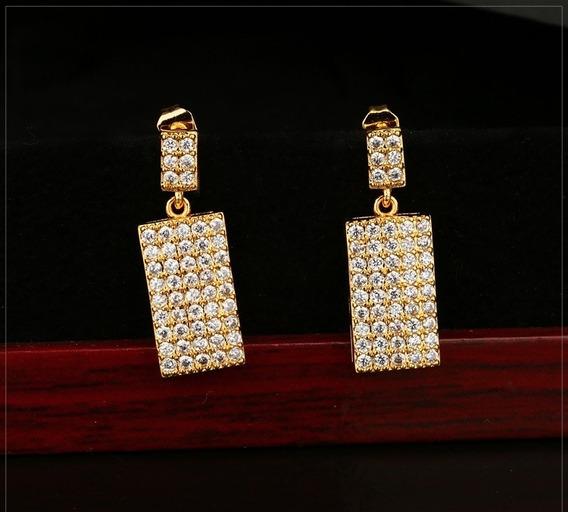 Brinco Super Luxo Semi Jóia Dubai, Banhado A Ouro 18k E Crav