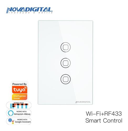 Interruptor Digital Wifi 3t Novadigital Alexa Branco Anatel