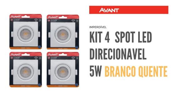 Kit 4 Spot Led 5w Avant Quadrado Branco Quente Direcionavel