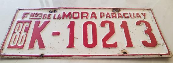 Placa Carro Antiga Ferro Original F De La Mora Paraguai K102