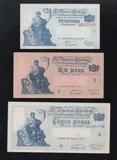 Lote 3 Billetes Peso Moneda Nacional Serie Del Progreso Bcra