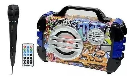 Caixa De Som Mega Star Sd Usb Bluetooth / Karaoke Caixinha Som Promoção