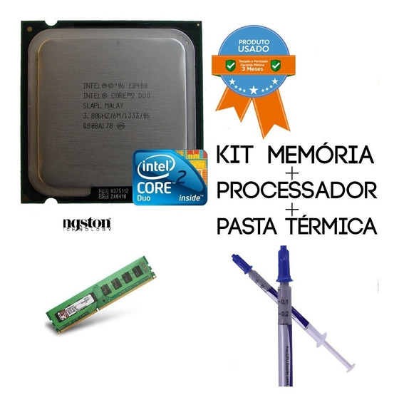 Kit Core 2 Duo E8400 3.0ghz + 2gb Memoria Ram Ddr2 Kingston