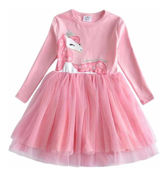 Vestido Para Niña Con Estampado De Unicornio Talla 5