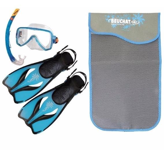 Set Oceo Beuchat Mascara, Aleta Y Snorkel Azul Talla 5-7 Mex