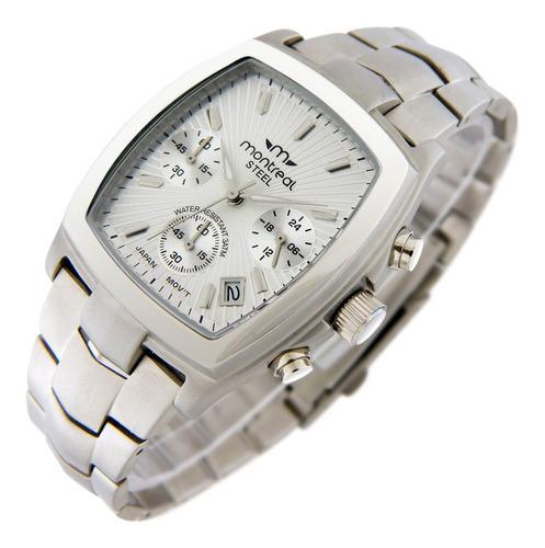 Reloj Montreal Crono Hombre 100% Acero Ml093 Envio Gratis