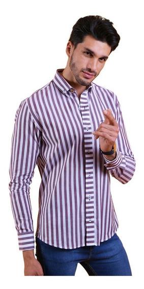 Camisa Porto Blanco Hombre Algodón Rayas Moda Casual
