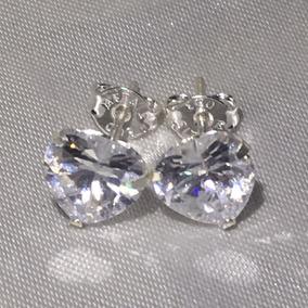 Brinco Prata Pura 925 Coração - Pedra Diamante Sintético