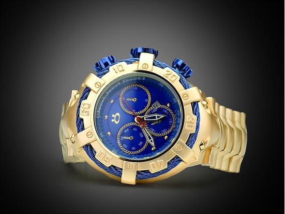 Relógio Masculino Em Aço Dourado 100% Original + Nota Fiscal