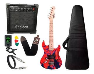 Kit Guitarra Infantil Phx Homem Aranha Spider Caixa Sheldon