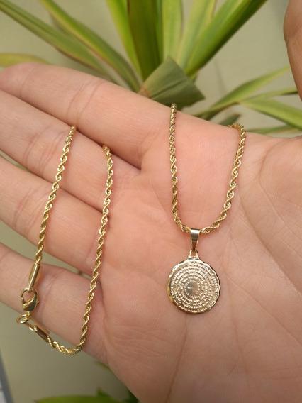 Colar 50cm Pai Nosso Medalha Pequena 1,5 Cm Banho Ouro 18k