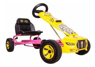 Carrito Montable A Pedales Go Kart Leon Niñas Rosa