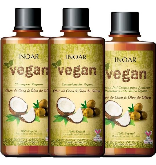 Kit Inoar Vegan Shampoo + Cond + Leave-in (3 Produtos)
