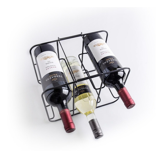 Bodega Vinoteca Estante 6 Botella Moderno Negro Mate Calidad