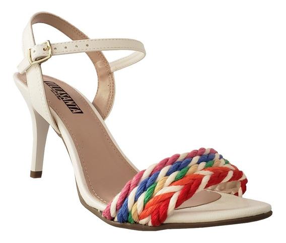Sandália Salto Médio Branca Com Tira Colorida Em Corda